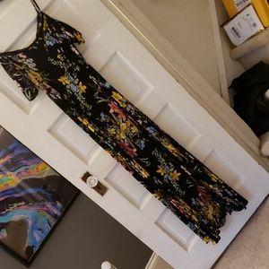 Forever 21 floral maxi dress black new sz S
